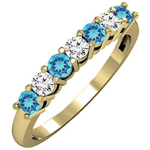 14K Yellow Gold Round Blue Topaz & White Diamond Ladies 7 Stone Wedding Band Ring (Size 8)