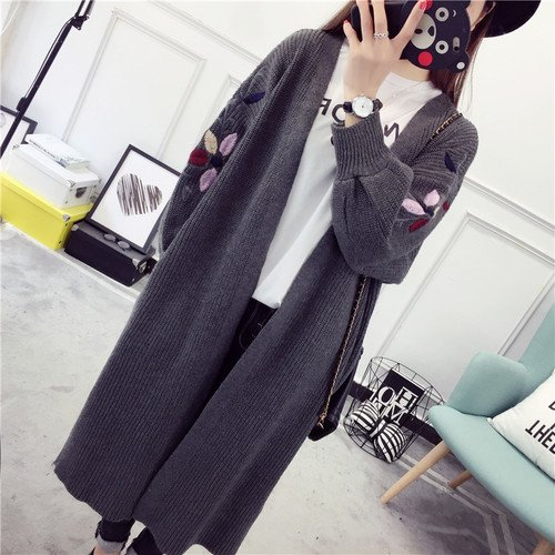 kanas shop刺繍カーディガン カーデ ニット 長袖 ボリューム袖 体型カバー