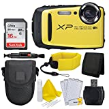 Fujifilm FinePix XP90 Digital Camera (Yellow) + Floating Wrist Strap + Point & Shoot Camera Case + 16GB Memory Card + Card Reader + Screen Protectors (Certified Refurbished)