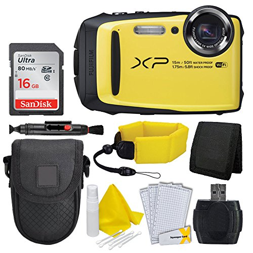 Fujifilm FinePix XP90 Digital Camera (Yellow) + Floating Wrist Strap + Point & Shoot Camera Case + 16GB Memory Card + Card Reader + Screen Protectors (Certified Refurbished) by PHOTO4LESS