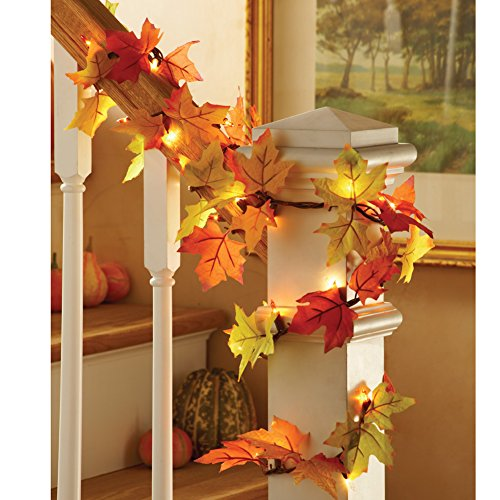 Collections Etc. Colorful Fall Lighted Decorative Harvest Garland with Leaves and Amber Lights