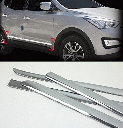 [Sell by Automotiveapple] AUTOCLOVER B758 Chrome Door Side Skirt Accent Line Sill Molding Trim 4-pc Set For 13 14 Hyundai Santa Fe SPORT : DM