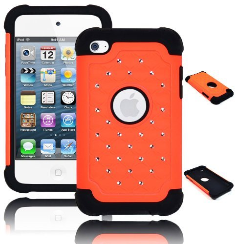 Bastex Heavy Duty Hybrid Case for Touch 4, 4th Generation iPod - Black Silicone/Orange Spot Diamond Bling Hard Shell (Ipod Touch 4 Bling Case)