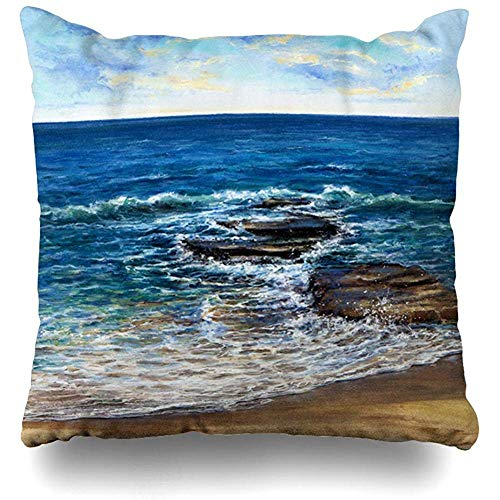 (Throw Pillow Covers Home Drawing Blue Artist Original Showing Waves Ocean Scenery Green Artistic Bay Canvas Clouds Cloudy Decor Pillowcase Square Size 18