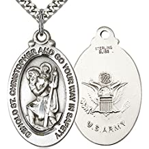 Heartland Men's Sterling Silver St. Christopher Army Medal + Best Quality USA Made