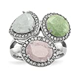 ICE CARATS 925 Sterling Silver Multi Color Ice Cubic Zirconia Cz Band Ring Size 7.00 Fine Jewelry Gift Set For Women Heart