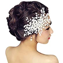 Foonee Silvery Wedding Hair Combs,Bead and Rhinestones Hair Clip Bridal Headpiece Jewelry Wedding Accessory for Bridesmaids (White)