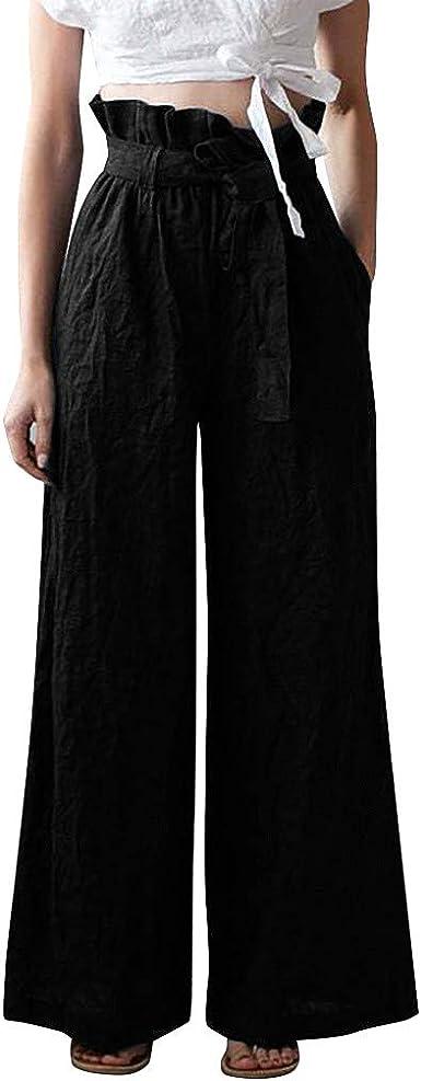 Risthy Pantalones Anchos Para Mujer Otono Invierno Moda Casual Pantalones De Vestir Cintura Alta Fiesta Palazzo Pantalon Acampanados Baggy Negro Con Cinturon Senora Amazon Es Ropa Y Accesorios