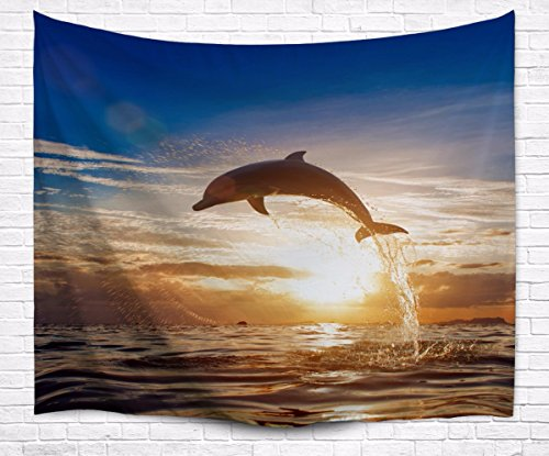 me Blue Ocean Dolphin Jumping Out Of Water Vivid Picture Print Textile Tapestry Wall Hanging Decors for Kids Bedroom 153x102cm/60