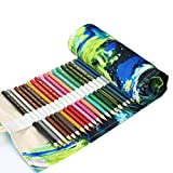 Colored Pencil Holder Case, Coideal 72 Slots Canvas Wrap Holder Roll Up Pouch Case Bag Set for Kids and Adults, Travel Drawing Coloring Pencil Roll Organizer for Artist (72 Holes, Painting)
