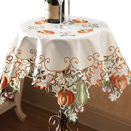 Autumn Harvest Pumpkin Gourd Fall Leaves Diecut Decorative Table Linens, Square, Machine Washable