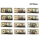 Total 12 Piece Of Small Size American Dollar $1, 5, 10, 20, 50 $100 Bill Millionaire Lucky Money Magnet Patriotic Souvenir Office Board Desk Door Fridge Magnets,Learning Resources,Magnetic Money