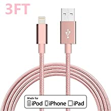 Lightning Cable, VPR 3FT Nylon Braided Extra Long 8pin USB Sync Charger Cables Charging Cord For Apple iPhone 7/7 plus/SE/6/6 Plus/6s/6s Plus/5/5c/5s/SE, iPad Mini/Air, iPod Nan/Touch (Rose Gold)