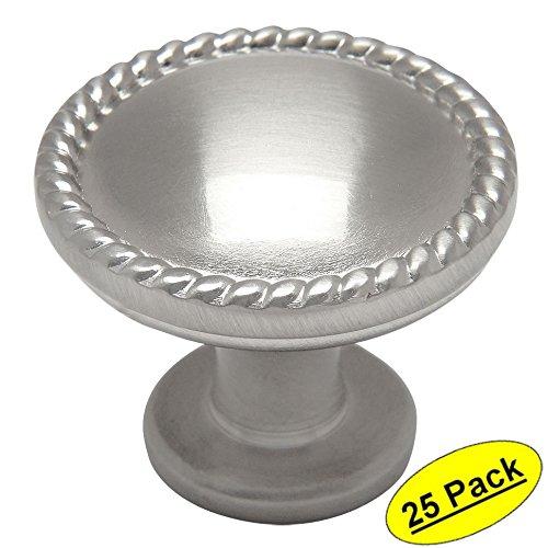 - 25 Pack - Cosmas 4115SN Satin Nickel Rope/Scroll Cabinet Hardware Knob - 1-1/4