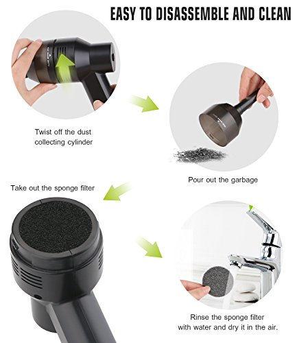 Keyboard Cleaner, USB Rechargeable Mini Vacuum Air Duster with Cleaning Gel, Portable Keyboard Vacuum Cleaner for Cleaning Dust, PC, Hairs, Crumbs, Laptop, Scrap, Piano, Computer, Car and Pet House by Aliengt (Image #5)'