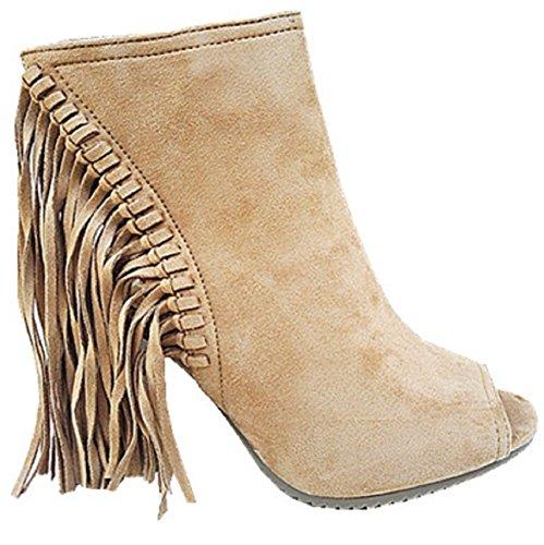 Bout fashionfolie a Chaussure Camel Talon Sandales Bloc Ouverte Franges Femme Compensée C170 Haut aC5apwq0
