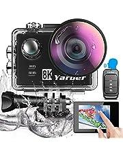 Yarber 8K 20MP Action Cam WiFi Touch Screen Comandi Vocali EIS Subacquea 40m 8 Volte Zoom Ultra Grandangolare 170 ° Videocamera con Telecomando e 2 Batterie 1050mAh