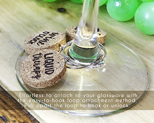 Wine Glass Charms - 12-Piece Wine Charm Drink Markers - Natural Cork Wine Lover Themed Wine Glass Tags Decorations for Parties, Gatherings, Reunions - 1 x 0.19 inches by Juvale (Image #4)