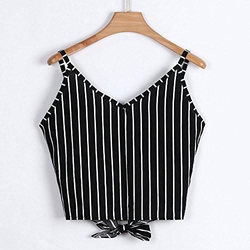 Women Vests BXzhiri Casual V Neck Button Seft Tie Front Crop Tops Camisole Shirt Vest Black by Bxzhiri_Women Tops (Image #5)