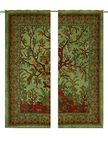 Green Tree Of life Bird Wall Hanging For Window Room Decor,Mandala Window Curtains Panels Pair 82 Length Set of 2,Indian hippie curtains Bohemian psychedelic Ombre-mandala Wall-hanging-tapestry Curtai