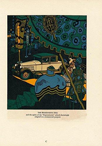 Nice Illustration - Automobile ad model illustrations 1927 nice vintage Art Deco color print