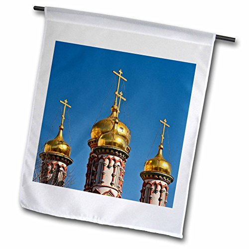 3dRose Alexis Photography - Architecture - Golden domes and crosses of an ancient Russian church, blue sky - 18 x 27 inch Garden Flag (fl_286559_2) ()