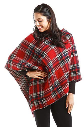 - Women's Traditional Plaid Checker Reversible Poncho Vest (Red)