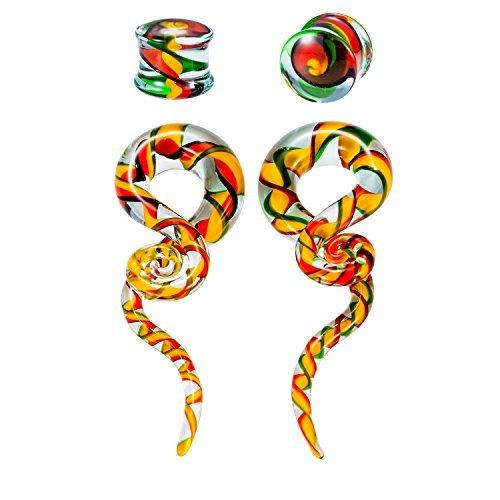 BodyJ4You 4PC Glass Ear Tapers Plugs 4G-14mm Green Yellow Orange Teardrop Spiral Gauges Piercing TP7066-00G