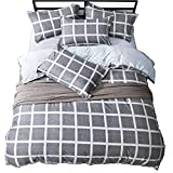 Chesterch Prevoster Gingham Microfiber Duvet Cover Set Blue Gray Bedding,3 Piece,Comforter Cover and 2 Pillowcases,Full Queen Size