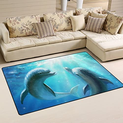 Yochoice Non-slip Area Rugs Home Decor, Stylish Cute Couple Dolphin Love Blue Ocean Floor Mat Living Room Bedroom Carpets Doormats 60 x 39 inches