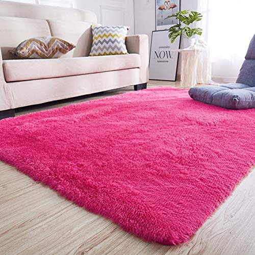 Hot Pink Carpet (junovo Rectangle Ultra Soft Area Rugs Fluffy Carpets for Bedroom Living Room Shaggy Floor Rug Home Decor Mats, 4 x 5.3ft,)