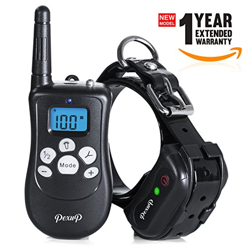 12312 Pexup Remote Shock Dog Training Collar – 3 Modes: Beep, Vibrate, Shock Stimulation – Rechargeable and 100% Waterproof by 12312