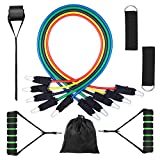 Resistance Bands Set 11 Piece 5 Stackable Exercise Bands,Workout Bands 1 Door Anchor, 2 Ankle Straps, 2 Foam Handles & A Carrying Bag for Resistance Training, Physical Therapy & Home Workouts
