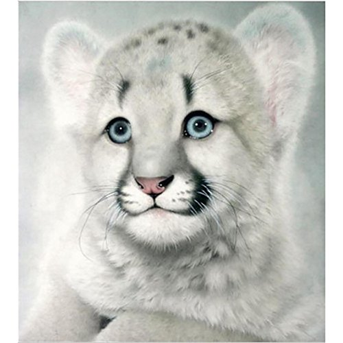 5D Diamond Painting Little Tiger Cross Stitch Abstract Wall Art Special Crafts Dye Tie Kit for Adults Home Room Wall Decoration Pictures 10×12 inch (White, 25×30 cm) ()