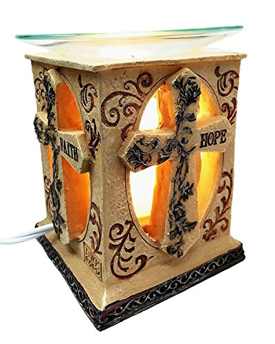 Faith Love Hope Holy Cross Electric Oil Warmer Tart Burner Aroma Scent Figurine by Gifts & Decors