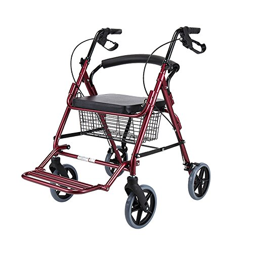Bath stool Elder people walker/Folding portable walker/with brake/Seniors Four rounds Driving vehicles shopping cart Aluminum alloy Pulley With seat With basket Pedals Walker size:6192 (Color : Red)