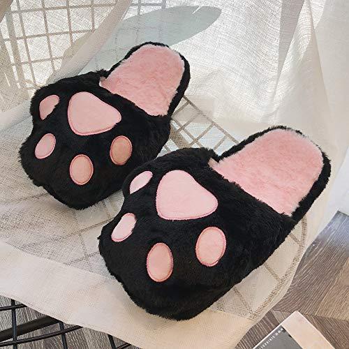 Donna Pantofola Piatto Cotone Slipper Faux Bello Pelliccia Di Terra Skid Soffice Nero Gatto Morbido Sandali Casa Byste Da Scarpe Famiglia Interno Pantofola d7w5qd