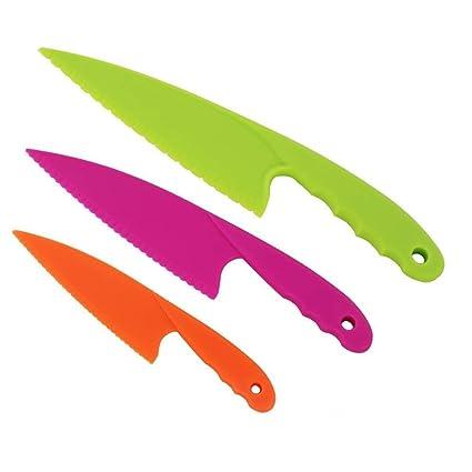 LYTIVAGEN 3Pcs Cuchillos para Niños Seguros, Cuchillos de Cocina de Nailon para Cortar Pan, Frutas, Verduras, Lechuga, Cuchillos Infantil(Naranja/Rosa ...