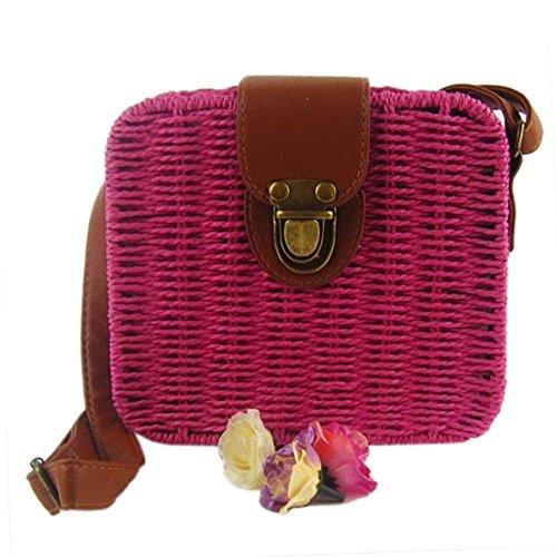 Retro Bolsas Pequena Cuadrados De Hombro Solidos Roja Pajizo Playa Rosa Bolsa QIYUN Crossbody Color Z XEwxq7tZ