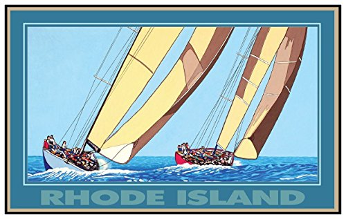 Rhode Island Two Sailboats Travel Art Print Poster by David Linton (12