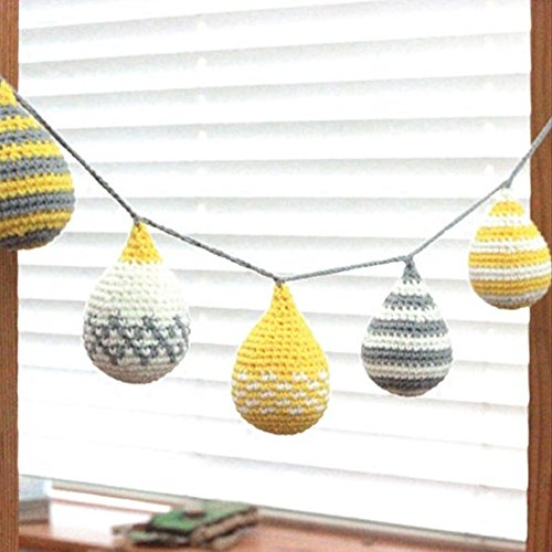 Handmade Cotton Wall Hanging Triangle Flag Children Bedroom Furniture Decorative Wall Art Baby Gift (Yellow) by QuanCheng