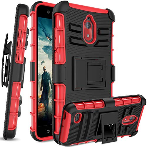 (AnoKe for Coolpad Illumina (2018) Case,Coolpad 3310A,Belt-Clip Holster Tough Armor Shockproof Stand Rugged Protective Phone for Coolpad Illumina (2018) HT Red)