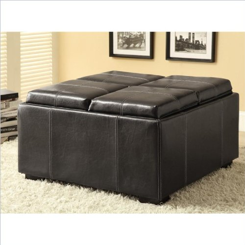 Coaster-Storage-Ottoman-Black