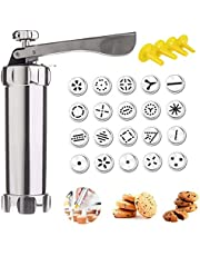 MEW Cookie Press Gun, Stainless Steel Cookie Maker Kit for DIY Biscuit Christmas Birthday Baking, Includes 20 Cookie Discs and 4 Icing Nozzles