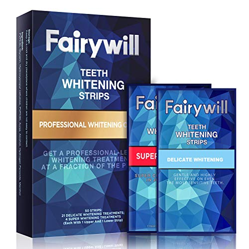 Fairywill Teeth Whitening Strips Pack of 50 Pcs White Strips, Professional and Express Whitening Strips Kits Whitestrips Remove Stains and Whiten Teeth in 1 Hour