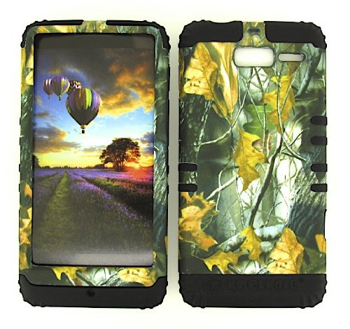 MOTOROLA DROID RAZR M XT907 CAMO DRIED LEAVES HEAVY DUTY CASE + BLACK GEL SKIN SNAP-ON PROTECTOR ACCESSORY - Motorola Phone Skin