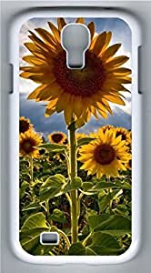 Samsung Galaxy S4 I9500 White Hard Case - Sunflower 1 Galaxy S4 Cases