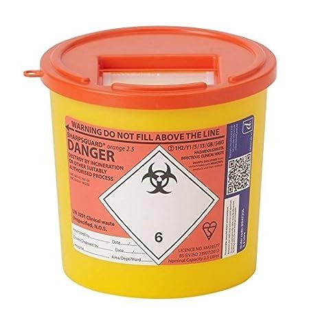 Generic Lab Supplies DD475YL Sharps Bin 22 L Pack of 10 Yellow Lid