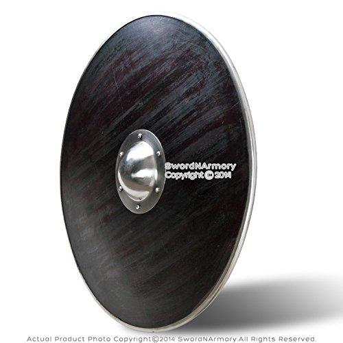 - Medieval Gear Functional Round Wooden Viking Battle Shield Steel Rim 16G Steel Umbo SCA LARP