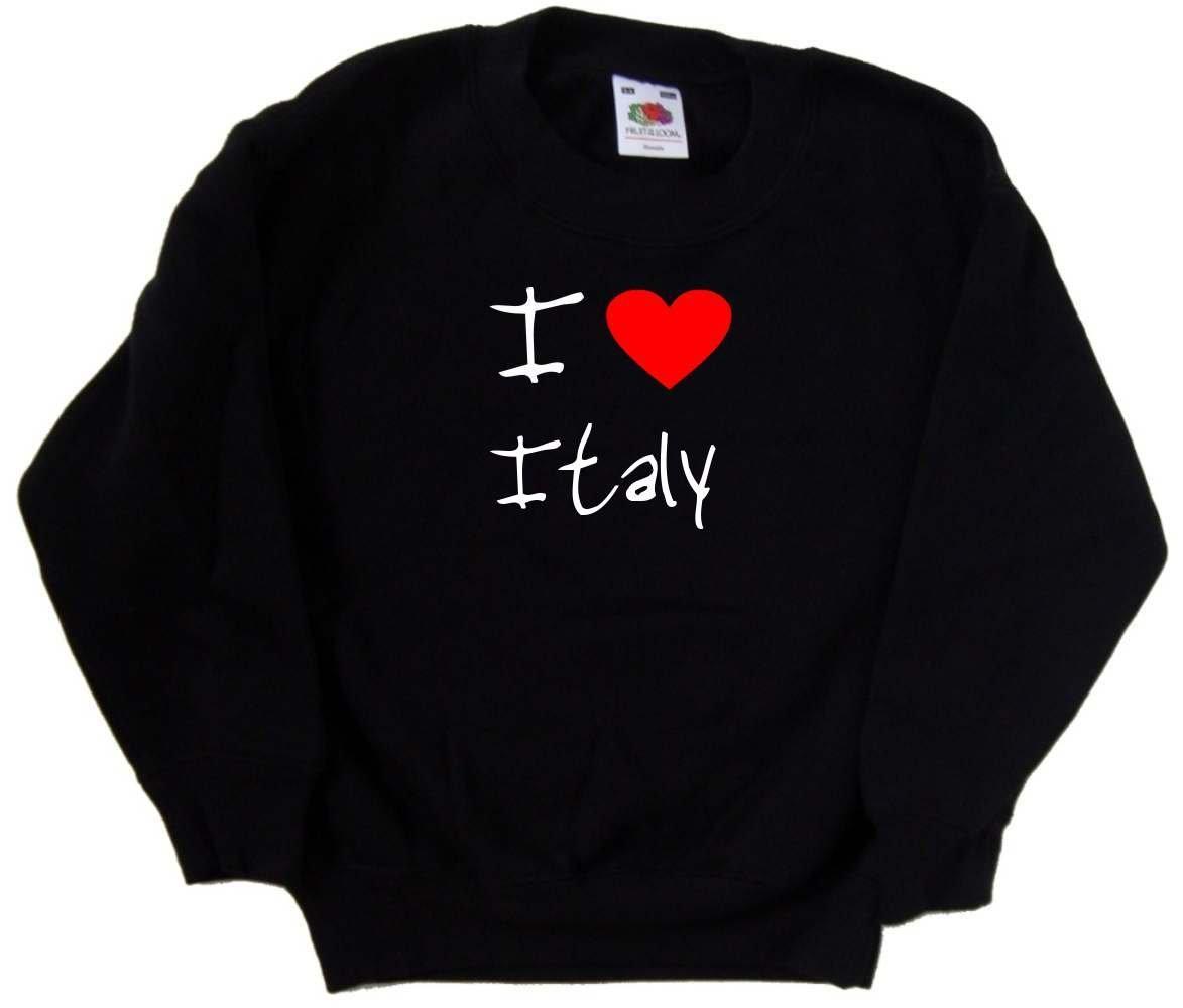 I Love Heart Italy Black Kids Sweatshirt (White print)-9-11 Years